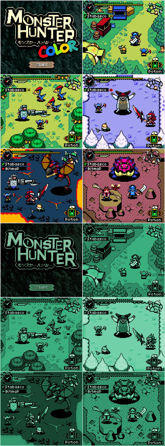 Monster Hunter in Game Boy and Game Boy Color