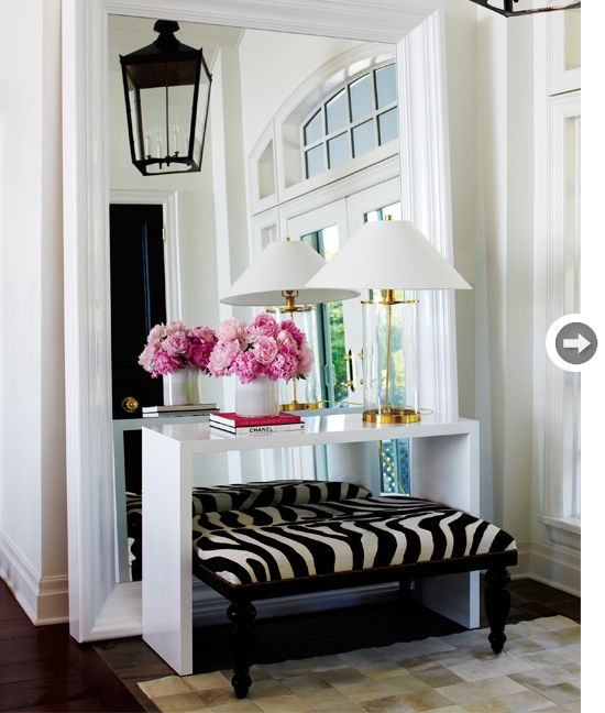 Love big mirror with table, lamp and flowers in entry wayDecor, Ideas, Consoles Tables, Big Mirrors, Zebras Prints, Animal Prints, Floors Mirrors, Homes, Entryway