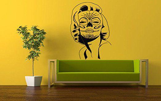 Wall Vinyl Sticker Decals Mural Room Design Pattern Zombie Girl Tattoo Skeleton bo611