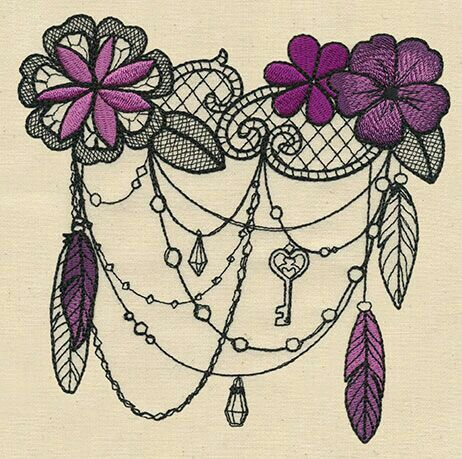 I love the Lace & beads/chains with dreamcatcher!