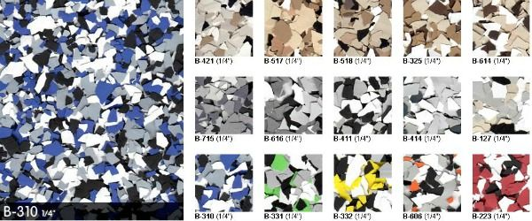 Vinyl color flakes for epoxy garage floor coatings can be confusing. Learn how to apply them, choose colors, and coverage rate for a great looking floor.