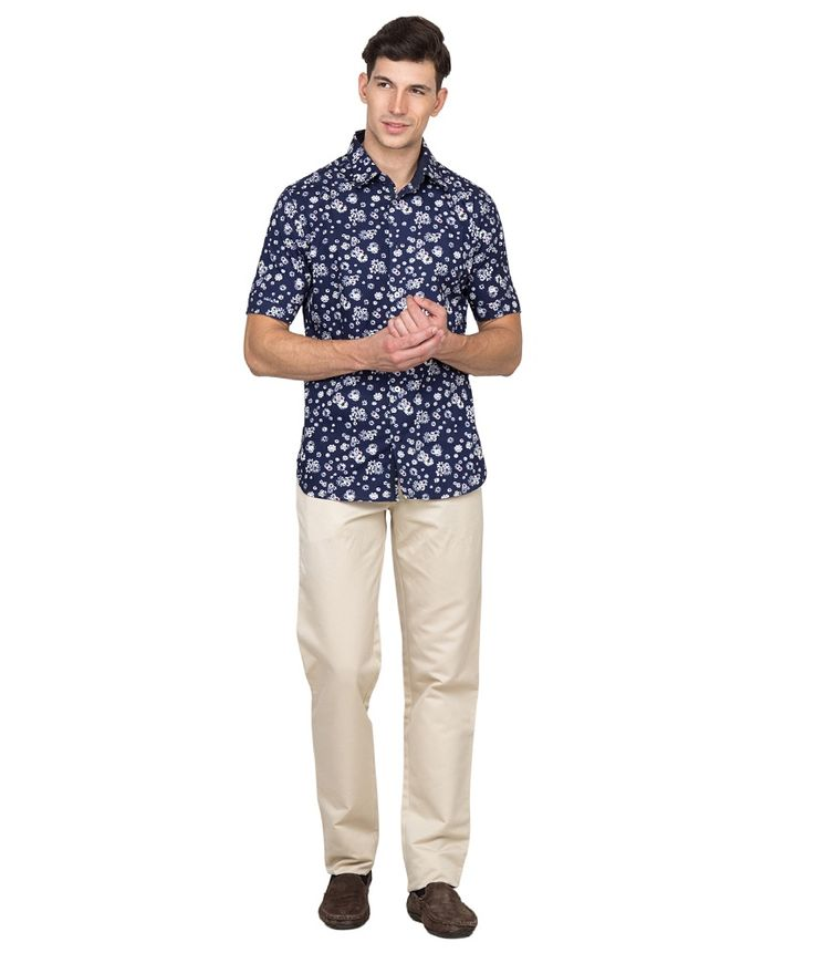 Bolt Blue Smart Casual Floral Print Shirt