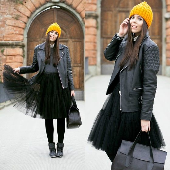 Get this look: http://lb.nu/look/8108902  More looks by Irene's Closet: http://lb.nu/ireneccloset  Items in this look:  Coverlab Bag, Cos Beanie Hat, Asos Skirt, Sarenza Boots, Asos Leather Jacket   #bohemian #retro #romantic