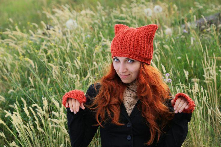Fox Hat Set Fingerless gloves With cat ears Knitting Handmade Of thick yarn Large viscous Crochet beanie Orange winter hat Gift For her by ThingsFromShela on Etsy