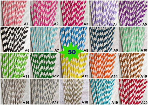 50 PAPER STRAWS Ships from USA! Mix Any Colors Striped Paper Straws Chevron Polka Dot Drinking Straws Wedding Birthday Baby Shower Mason Jar on Etsy, $4.00