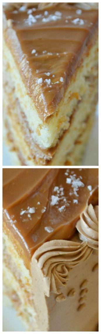 Caramel Cappuccino Cake ~ Delightful flavors of coffee, caramel and cream