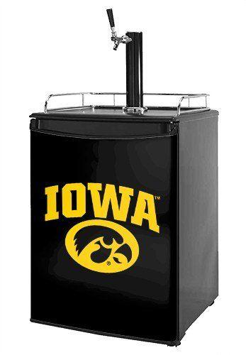 kegerator skin iowa hawkeyes tigerhawk oval 01 gold on black fits medium sized dorm fridge and kegerators - Dorm Fridge