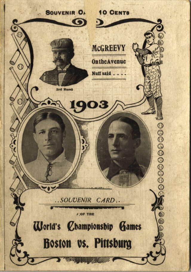 1903 WORLD SERIES - SOUVENIR CARD - BOSTON AMERICANS vs PITTSBURG PIRATES