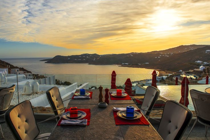 Outdoors dining during Mykonos sunset, an experience difficult to top… #MyconianAvaton #Sunset #Sea #Dining #Lifestyle
