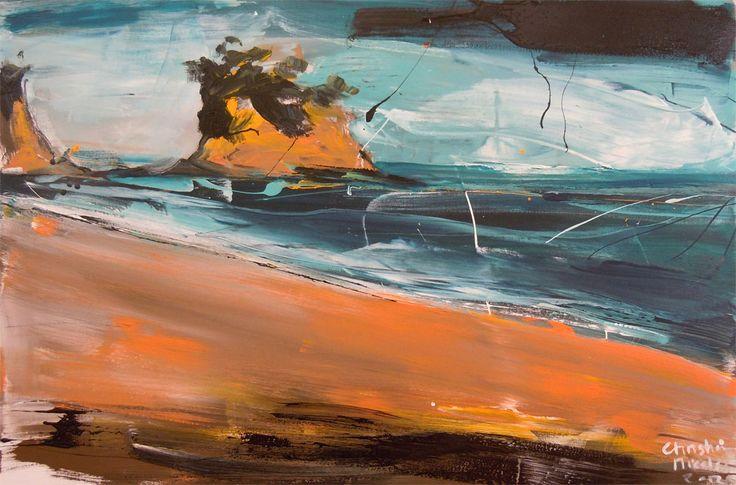 Parnell Gallery artist Christian Nicolson Stormy Summers Day Waiake Beach http://www.parnellgallery.co.nz/artworks/artist-christian-nicolson/stormy-summer-day-waiake-beach/