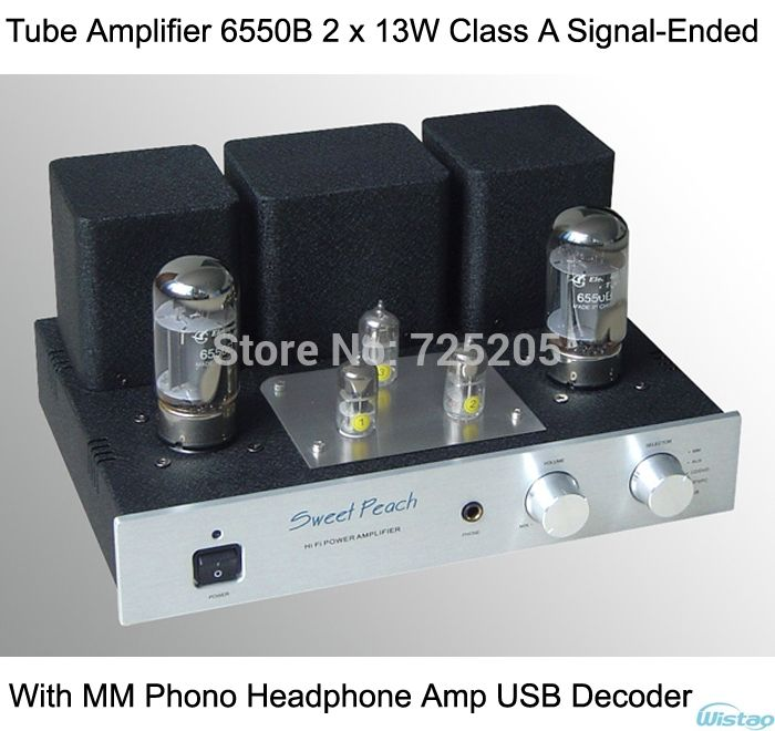 449.00$  Buy here - http://aliql7.worldwells.pw/go.php?t=1985883893 - Tube Amplifier 6550B Power Stage 2x13W Triode Connection Class A Signal-ended with MM Phono Headphone Amp USB Decoder HIFI Audio 449.00$