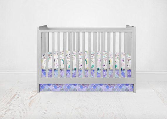 Straight Crib Skirt Purple Quatrefoil. Purple Crib by SuiteBaby