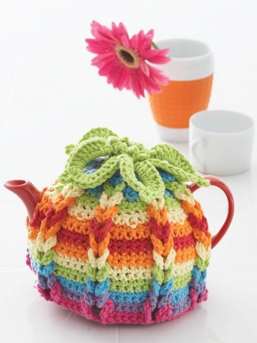 Hot Hibiscus Tea Cozy | Yarn | Free Knitting Patterns | Crochet Patterns | Yarnspirations