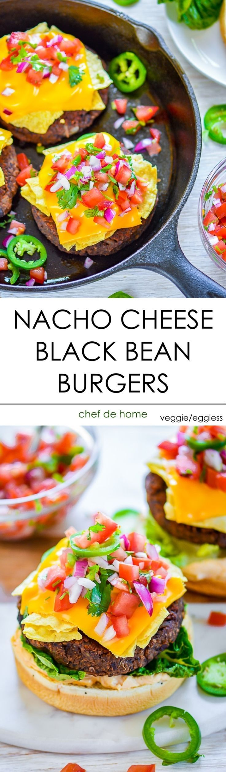 Nacho Cheese Crunch Black Bean Burger Recipe. Spicy Black Bean Burgers, egg-less, meatless veggie black bean patties spiced with chipotle and topped with all-you-want-in-nacho-cheese crunchy toppings!! These Spicy Black Bean Burgers are perfect to serve deliciousness of Nachos and taste of summer grilling... all summed up in one scrumptious meal! Smoky seasoned crispy black beans patties.