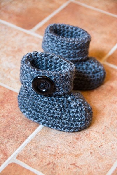 Crochet Cuffed Baby Booties Size: 6-12 months Supplies: Vanna's Choice® medium worsted weight yarn in two colors Crochet hook size G-6 (4.0 mm) tapestry needle for weaving in ends Buttons for embellishments Abbreviations: ch – chain SC – Single Crochet… Continue Reading →