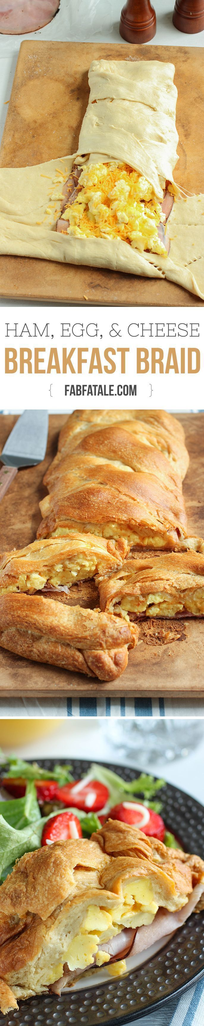 feeds a crowd and is SO good - ham, egg, and cheese croissant breakfast braid recipe #brunch