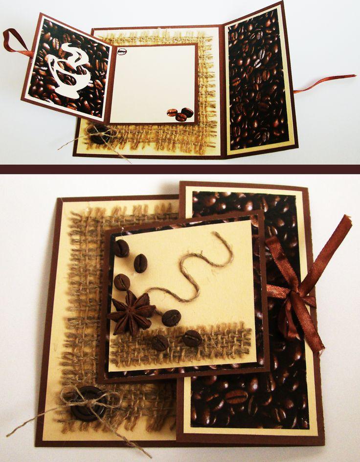 Листопада, как сделать открытку кофе