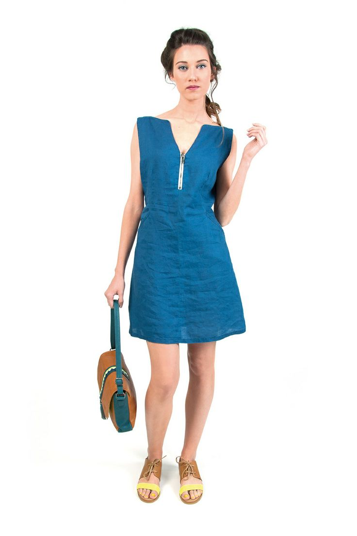 ISABELLA-110 SKUNKFUNK women's dress fabric content: 100% linen color: blue price: $135.00