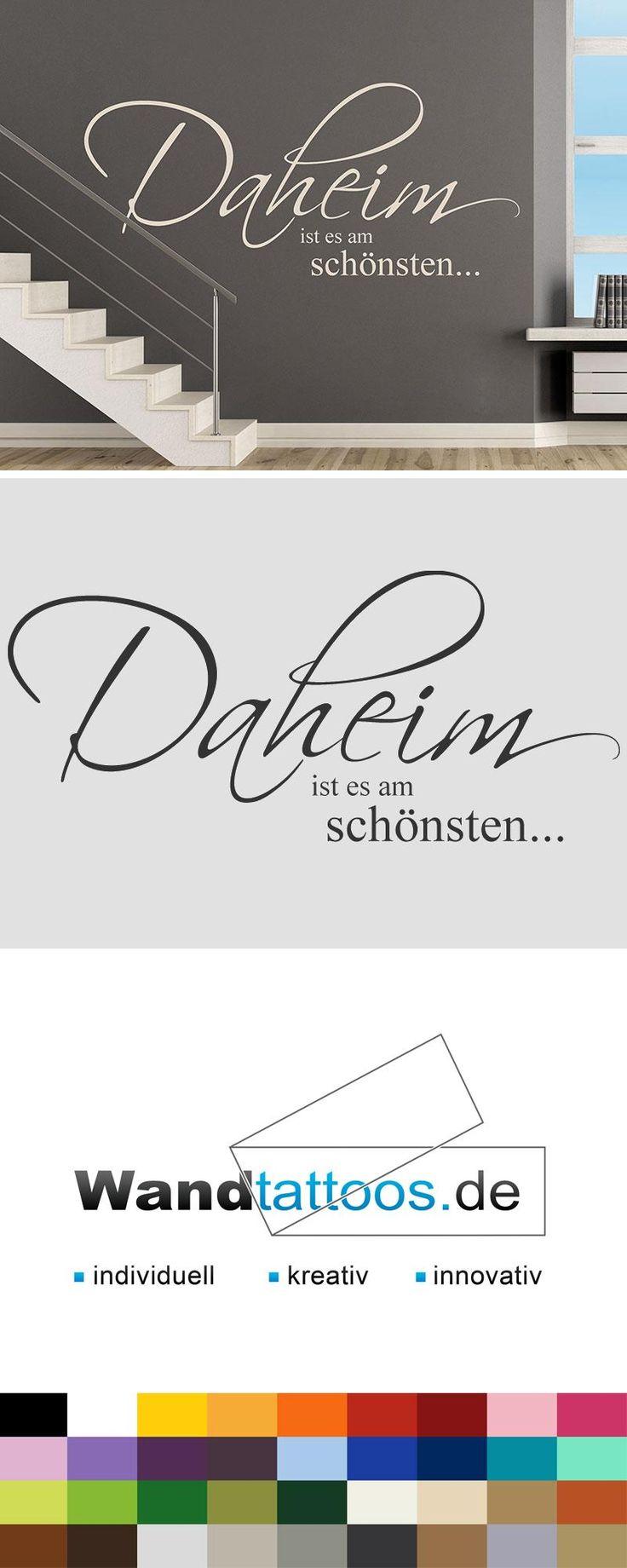 Wandtattoo Daheim ist es am schönsten... als Idee zur individuellen Wandgestaltung. Einfach Lieblingsfarbe und Größe auswählen. Weitere kreative Anregungen von Wandtattoos.de hier entdecken!