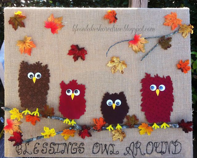 "alt=""Fabric Owl &  Burlap Fall Decor Tutorial Thanksgiving Wall Art"""