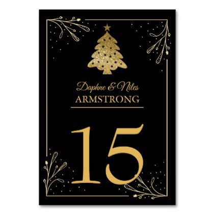 Christmas Wedding Table Numbers Black Gold - holiday card diy personalize design template cyo cards idea