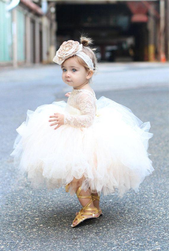 robe de fille de fleur Robe tutu en dentelle manches longues