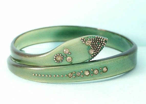 Vintage estate Art Deco 1930s/1940s green lucite/celluloid and paste snake costume bangle by rebstuff2