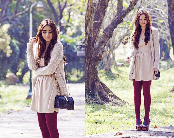 Persunmall V Neck Dress, Woakao Oversized Cardigan, Urban Outfitters Tights