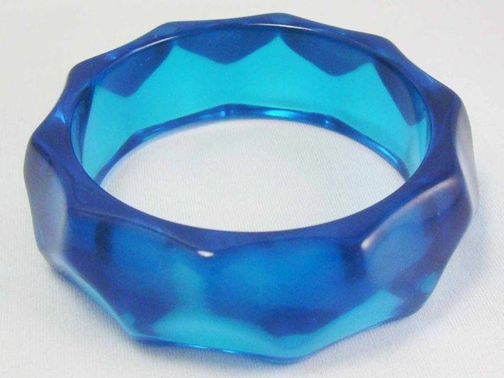 Vintage RETRO FUN Translucent Blue Water Wave Lucite Bangle Bracelet ~WIDE~
