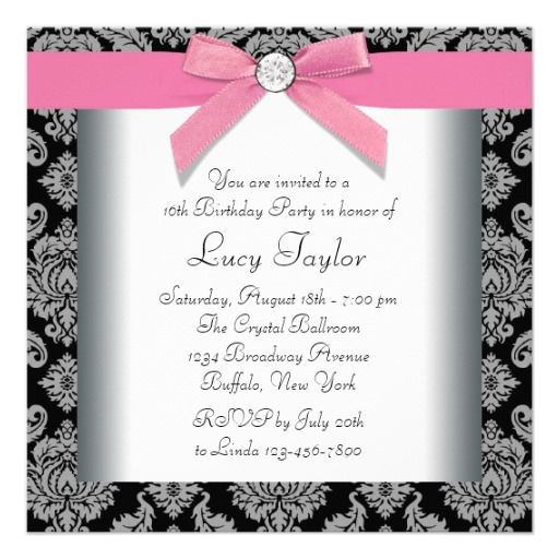 100 best sweet 16 invitations images on pinterest sweet 16 pink black damask sweet 16 birthday party invitations stopboris Images