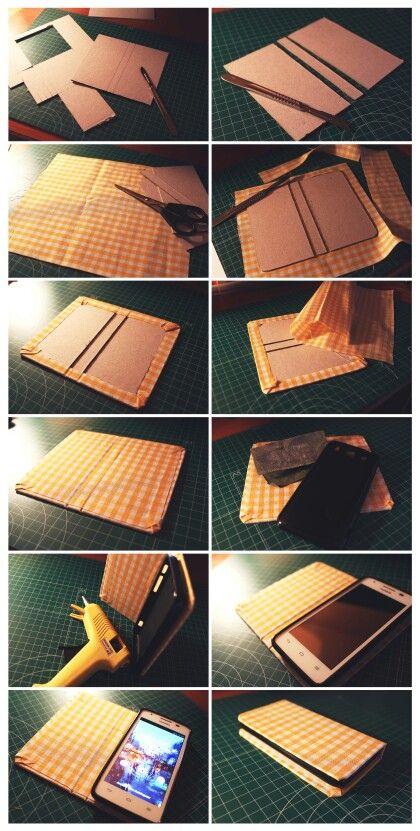 Funda de móvil con tapadera. Modo libro. DIY. Huawei G510.