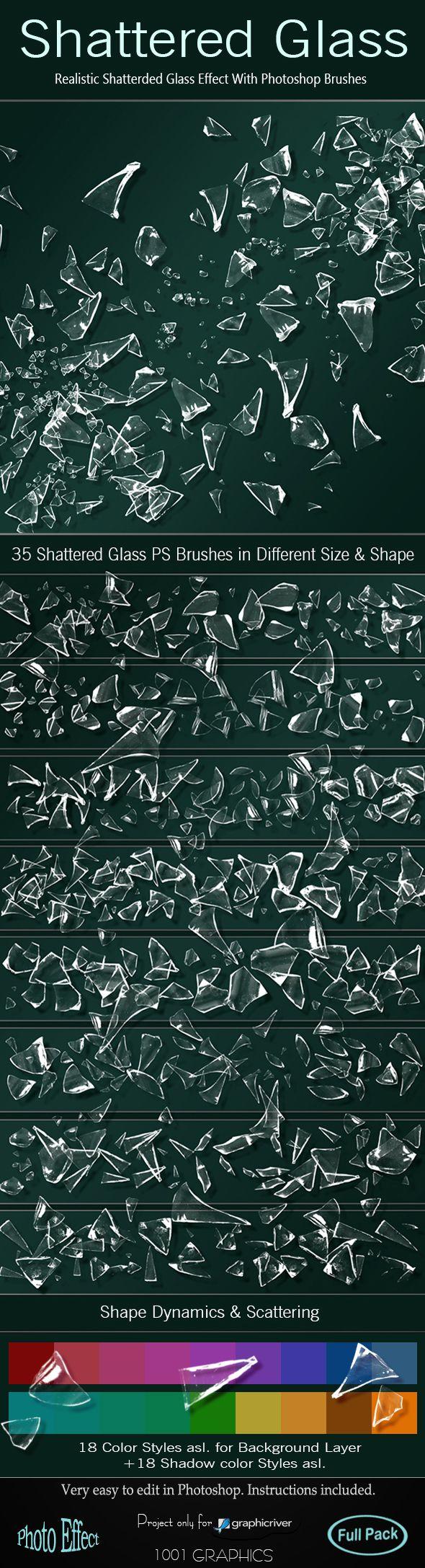 35 Shattered Glass Photoshop Brushes - Full Pack