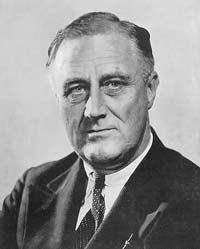 Franklin Roosevelt (1882-1945) was een Amerikaans politicus van de Democratische Partij. Hij was de 32e president van de Verenigde Staten van 1933 tot 1945. Hij begon d.m.v. het New Deal politiek weer aan het herstel voor de Amerikaanse economie.