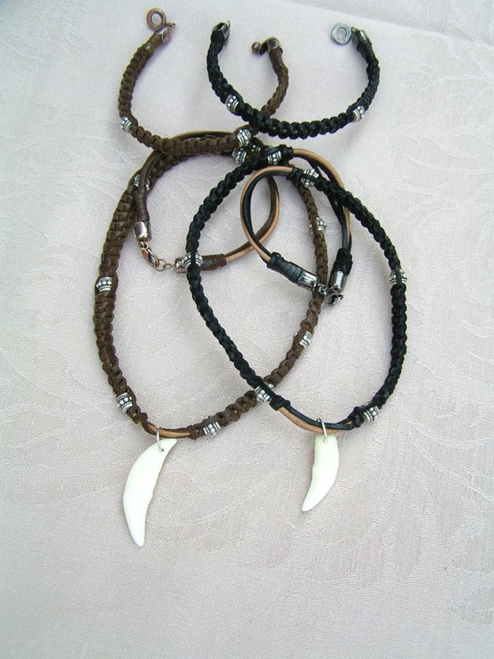 Wolf's Spirit leather jewelry set with wolf fang  --    I added metal beads between the macrame, and closed the ends bead caps  The necklace closes with lobster clasp, the necklace closes with snap clasp.