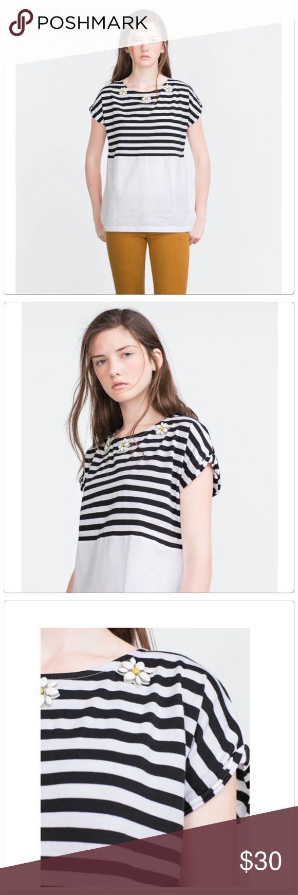 🆕 Zara mix media floral stripe top Zara mix media floral stripe top. Size S. Brand new. Zara Tops