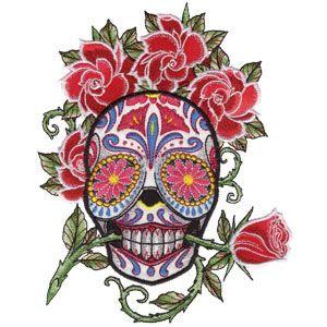 Sugar Skulls by Liquid Skin - machine embroidery designs urban trendy