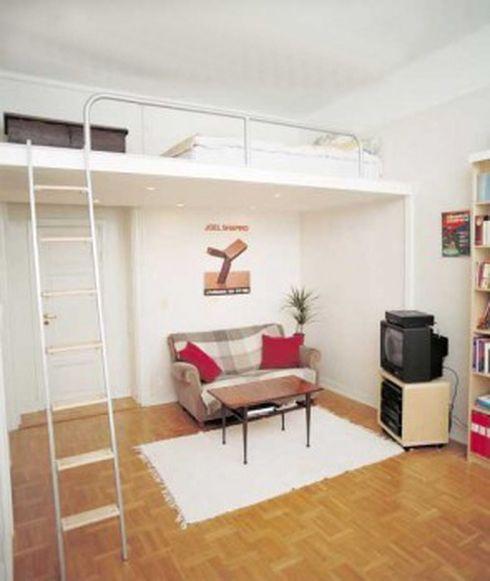 küçük ev asma yatak odası dekoru