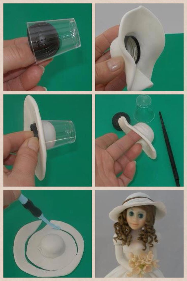 Lady's hat ! Porcelana fria pasta francesa masa flexible fimo fondant gum paste pasta goma modelado polymer clay