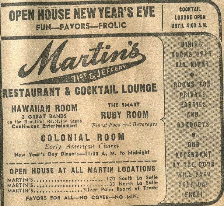 Martin's Restaurant 71st & Jeffrey Advertisement December