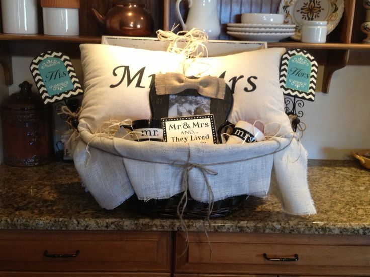 Mr And Mrs Gifts Wedding: Mr. And Mrs. Pillows And Basket For Bridal Shower Or