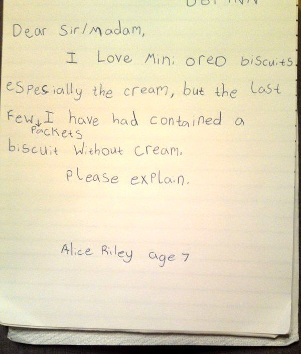 Kids Complaint Letter People who write