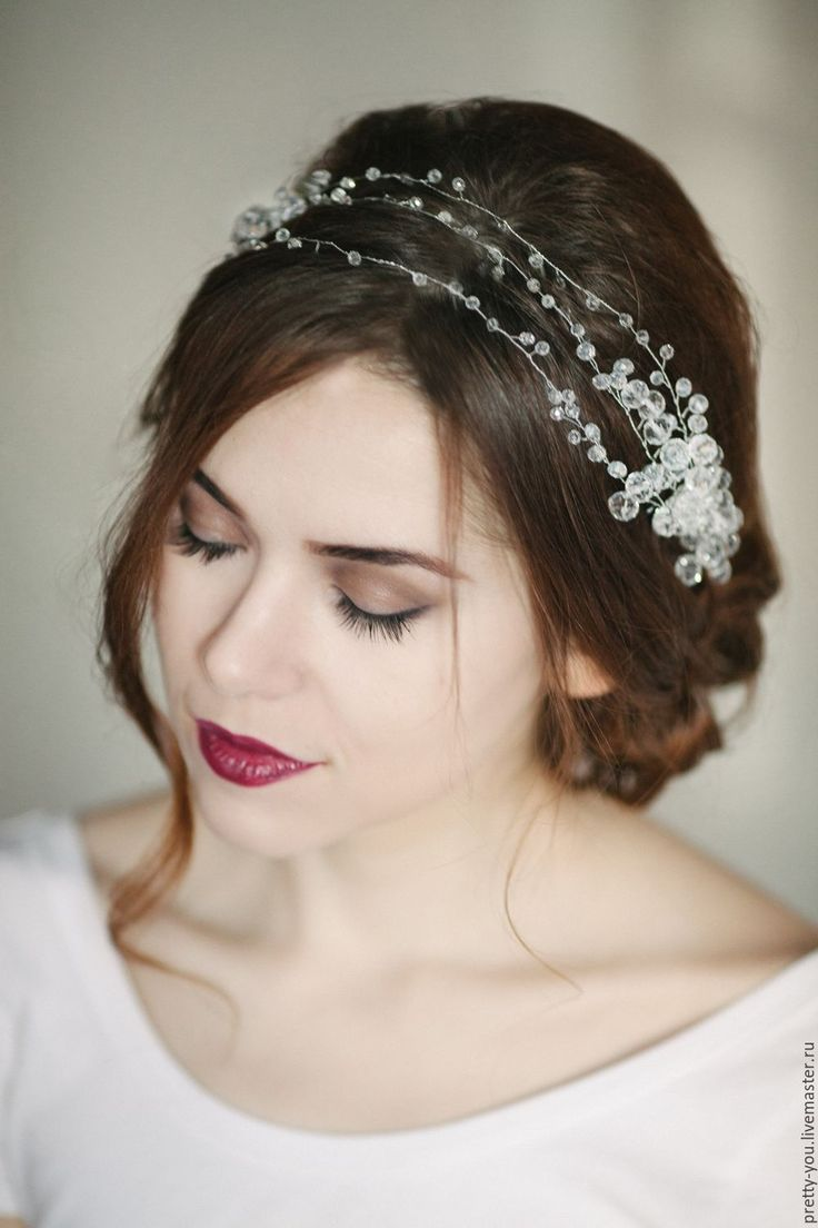 Купить Свадебный венок для волос. Венок на голову. Украшение для невесты - белый, венок, свадебныей венок