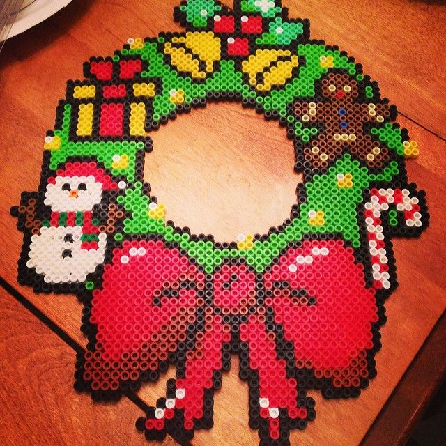 Christmas wreath perler beads by Christina George-Heeney
