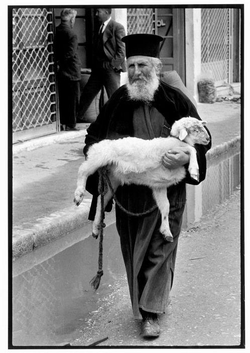 """GREECE. Crete. 1964. Priest in town on market day. """"A Greek Portfolio"""" p.102 © Costa Manos/Magnum Photos"""