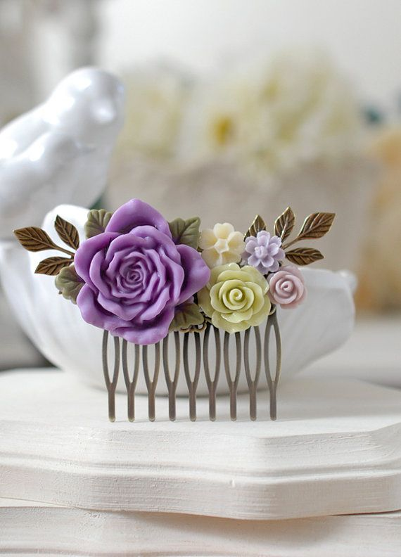 Green  and Purple Wedding Hair Comb. Lilac Purple Rose Apple Green Flowers Bridal Hair Comb,  Vintage Style Floral Collage Comb, Bridesmaid Gift by LeChaim www.etsy.com/shop/LeChaim