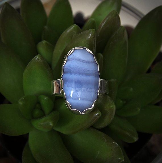 Size 7 Blue Lace Agate Ring agate ring silver ring