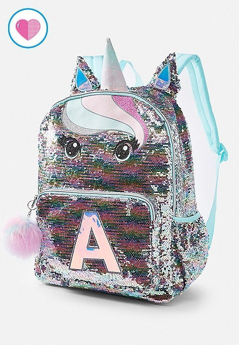 415ea964cad Justice is your one-stop-shop for on-trend styles in tween girls clothing &  accessories. Shop our Pastel Unicorn Flip Sequin Initial Backpack.