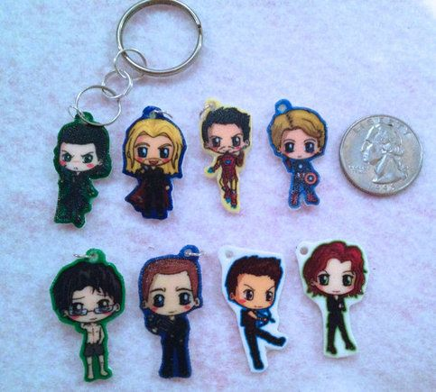 Marvel Avengers Chibi Charm Keychains or Phonecharms from IcyPanther's Art Shop