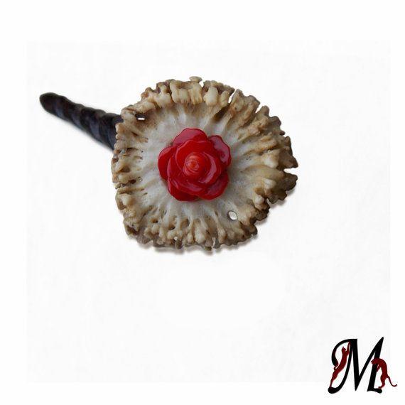 Hair stick deer antler hairpin bone carving by mariya4woodcarving, $105.00