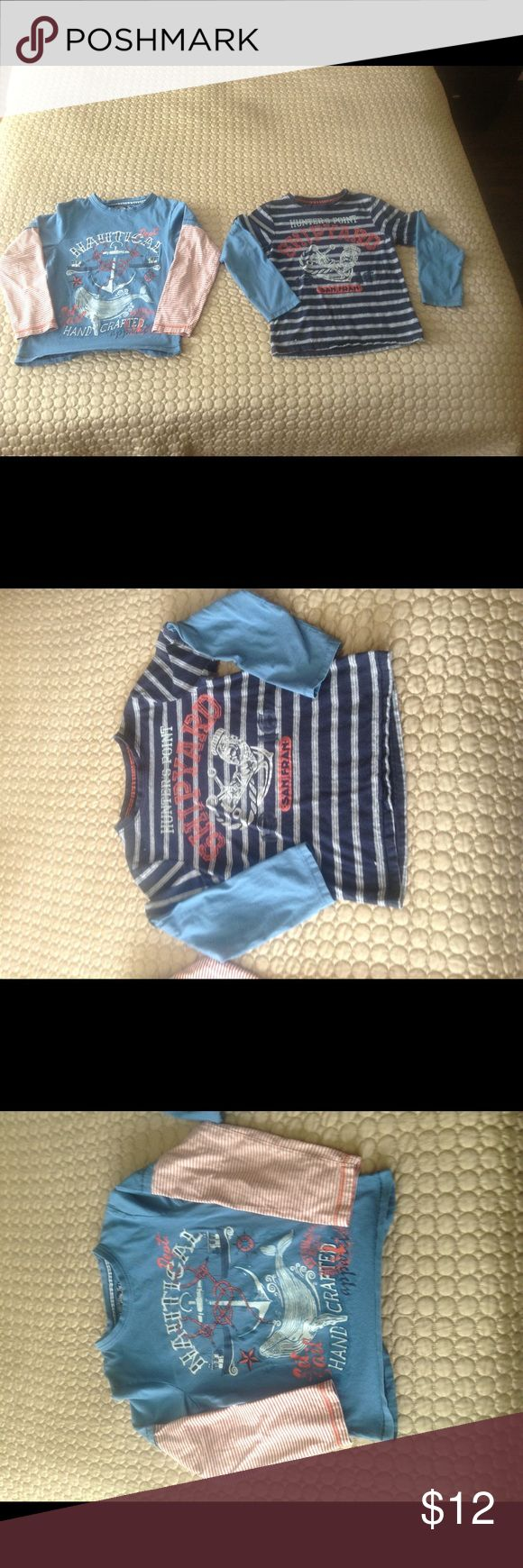 Bundle of 2 nautical long-sleeved tops These are from England. Worn once (washed 2x). My kid is not into pirates or nautical themes. No writing on the back. Fabulous condition. Cotton! Ahoy Matey...bundle for 30% off. Offers welcome. Tu Shirts & Tops Tees - Long Sleeve